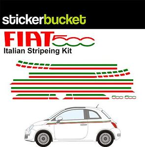 FIAT 500 ITALIAN STRIPE STICKER DECAL KIT