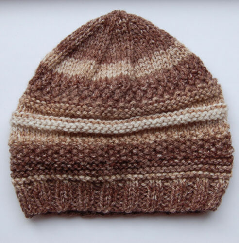Hand knitted Baby Hat Brown and Cream Mix 3-6 months