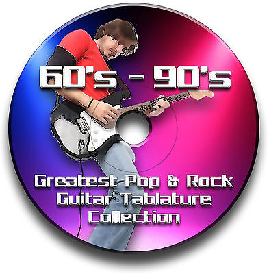 60s 70s 80s 90s 1200+ TABLATURE TAB ROCK POP GUITAR SONG BOOK CD SOFTWARE