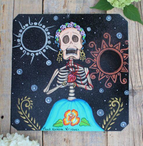 Day of the Dead Tin Retablo Frida Kahlo Holding her Heart Oaxaca Mexico Folk Art