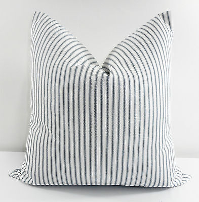 Navy Blue Classic Stripe Pillow Cover.Blue &White Cotton.Made in USA.Select size - Navy Pillow