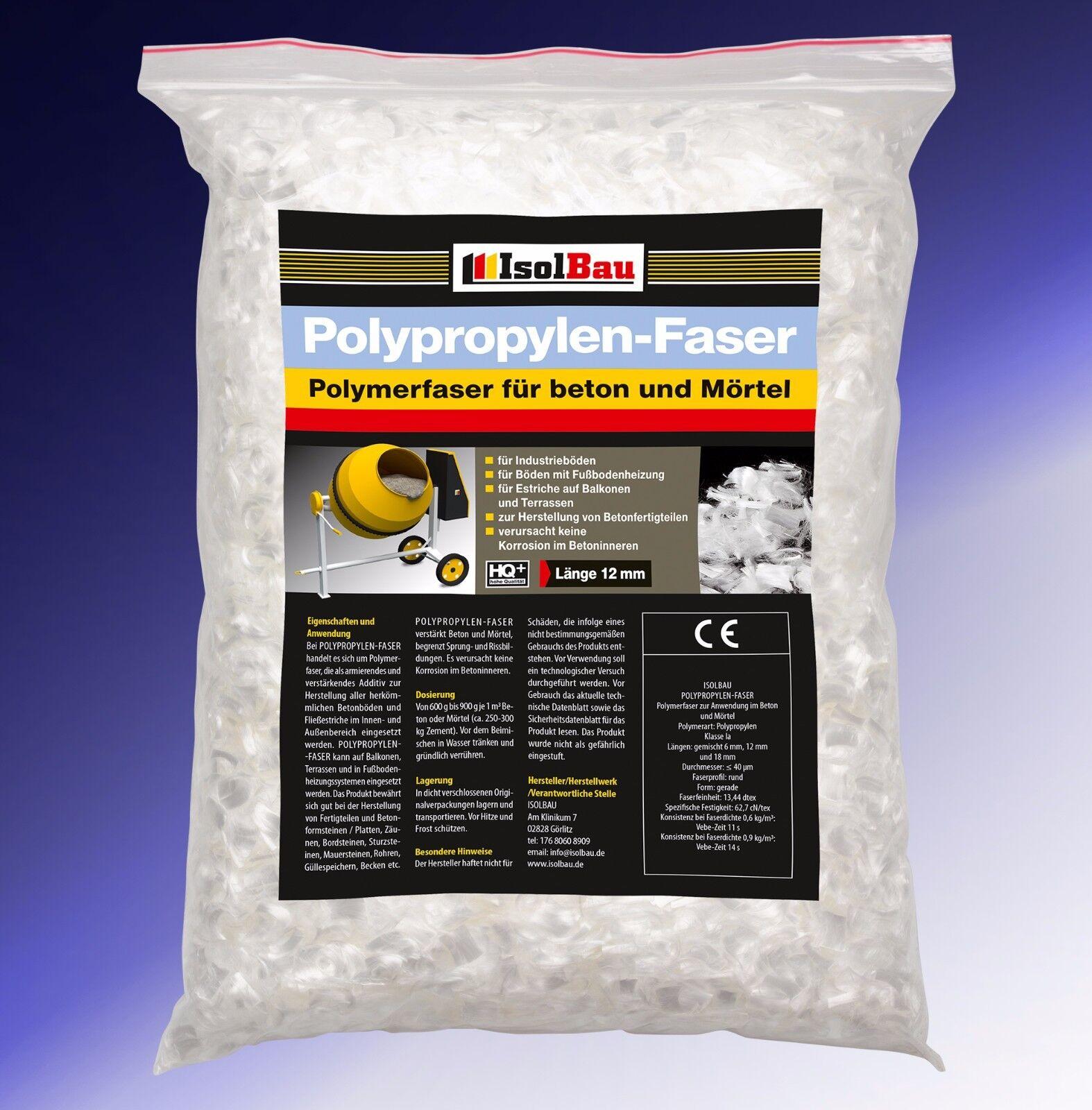 Polypropylenfasern Estrichfasern 1 kg PP Faser Beton-Fasern Markenprodukt HQ+
