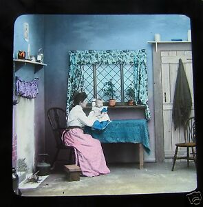 Glass-Magic-lantern-slide-A-TERRIBLE-CHRISTMAS-EVE-NO-6-C1890-VICTORIAN-TALE