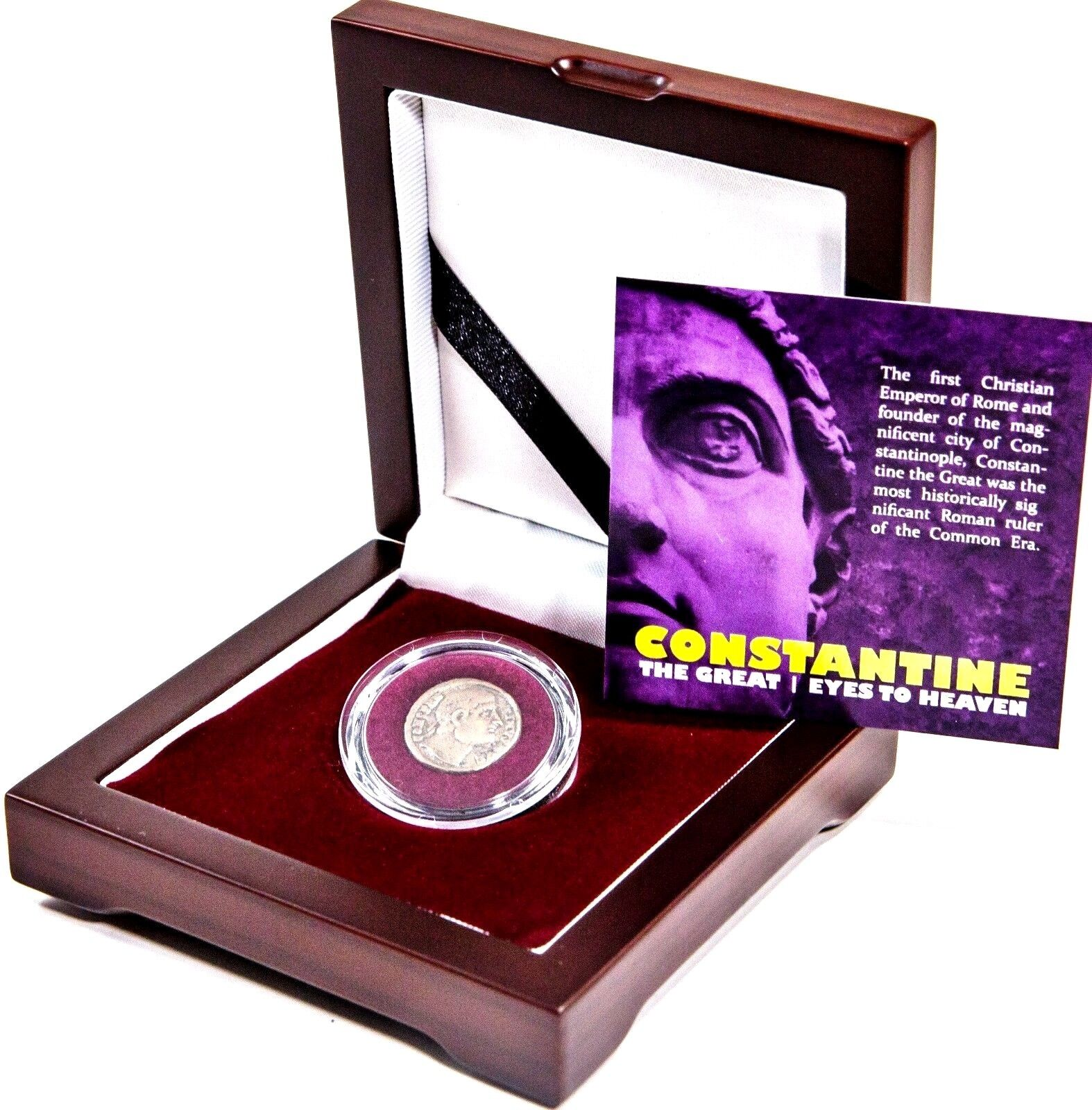 Constantine The Great Eyes To Heaven Coin Beautiful Wood Box,Story,Certificate - $126.47