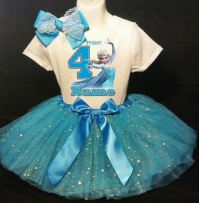 Frozen Elsa 4th Birthday dress --With NAME-- party Tutu outfit - Frozen Birthday Outfit