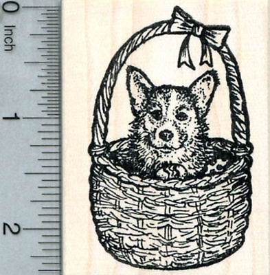 Easter Corgi Rubber Stamp, Dog in Basket J32110 WM