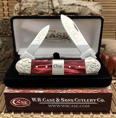 Case XX USA Beautiful Custom RED PEARL Kirinite Engraved Canoe Knife #04
