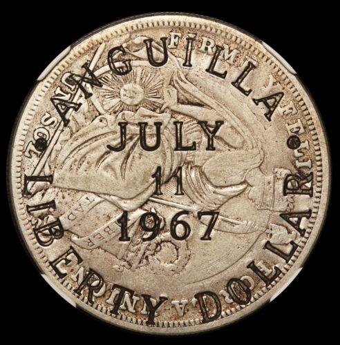 1967 Anguilla Liberty $1 Dollar Silver Coin C/S on 1925 Peru Sol - NGC VF 20