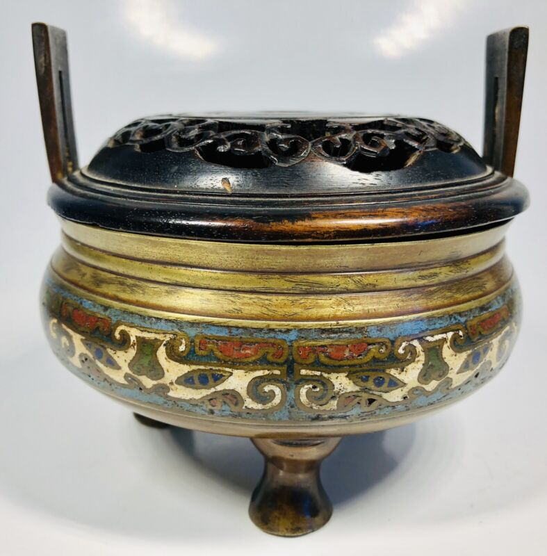 Antique 19th Century Chinese Hand-Painted Bronze Incense Bowl With Wood Top