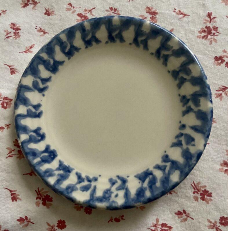Vintage Workshops of Gerald E. HENN Pottery Blue Spongeware Trim Mini Plate