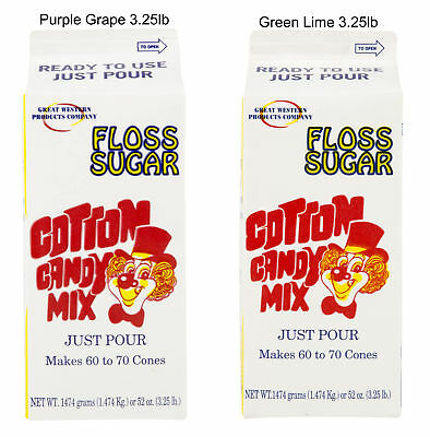 Purple Grape Green Lime Cotton Candy Floss Sugar 3.25lb Each