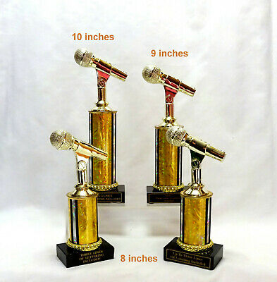 SET OF4 MICROPHONE TROPHY MUSIC  BLACK MARBLE BASE GOLD TUBES - Microphone Trophies