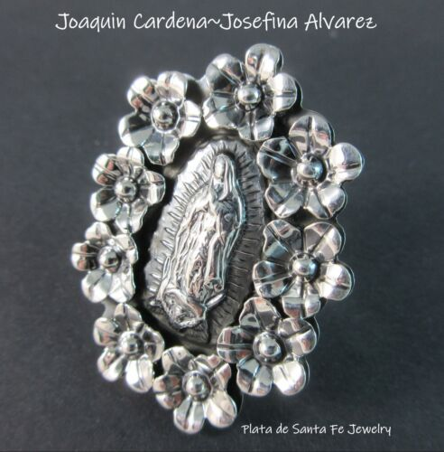 Taxco Artists~Joaquin Cadena~Josefina Alvarez~925 GUADALUPE Retablo Ring~ADJ.8