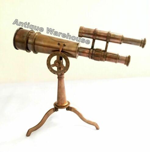 Handmade Antique Brass Working Double Barrel Telescope With Brass Stand Decor
