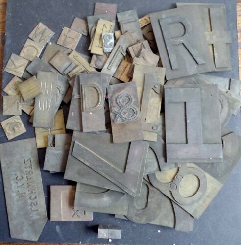 Lot of Antique Brass Letters & Numbers Bronze Type Printing Block Vintage