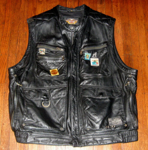 Vintage Harley Davidson Genuine Black Leather Vest w Florida Chapter Patches XL