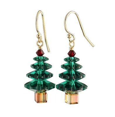 Emerald Green & Ruby Red Crystal Christmas Tree Gold or Silver Holiday Earrings