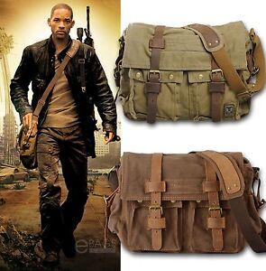 Mens-Vintage-Canvas-Leather-Satchel-School-Military-Shoulder-Bag-Messenger-Bag