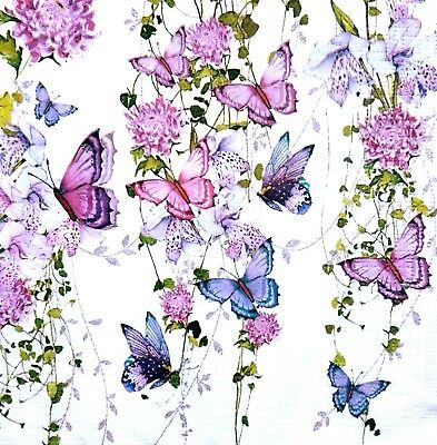 4 Lunch Paper Napkins for Decoupage Party Table Vintage Butterflies Splash