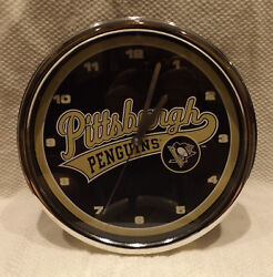 Pittsburgh Penguins 12 Wall or Table Top Chrome Clock Black - NHL Hockey