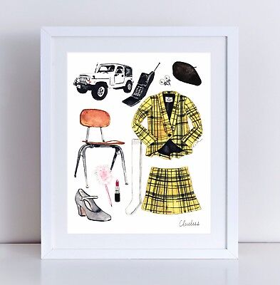 Cher Horowitz Costume (Clueless Movie 1995 Unframed Art Print Clueless Costume Collage Cher)
