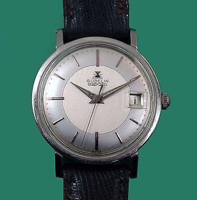 Vintage 60's Gübelin Classic Men's Watch Automatic Adjusted Movement Gubelin