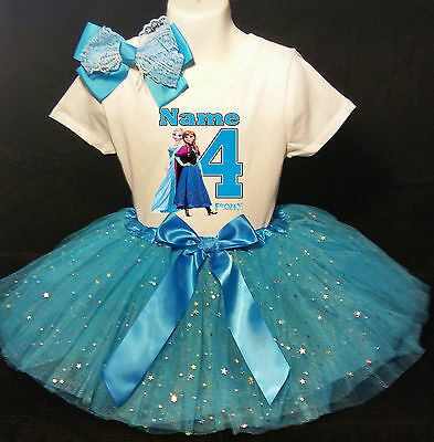 Frozen 4th Birthday dress --With NAME-- party Tutu outfit - Frozen Birthday Outfit