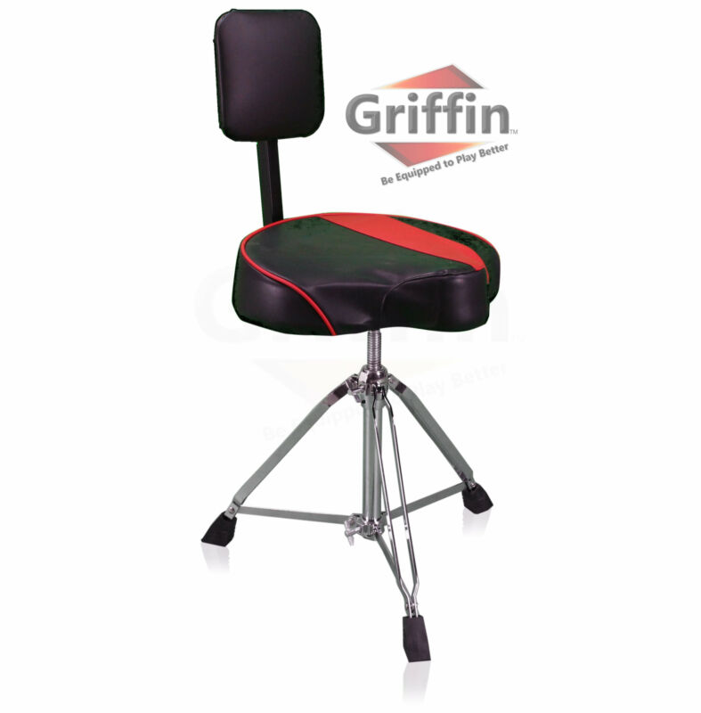 Saddle Drum Throne Back Rest Support – Motorcycle Seat Padded Swivel Stool Chair