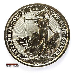 2017 Silver Britannia, unc: 1oz Troy ounce Fine Silver Bullion Coin
