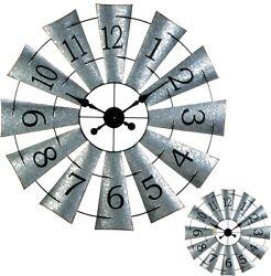 LARGE MODERN ELEGANT GALVANIZED IRON & METAL WINDMILL WALL CLOCK **33X33** NIB