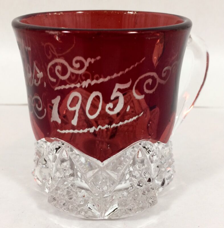 Antique EAPG 1905 Ruby Red Flash Cut to Clear Button Arches Souvenir Cup CHARLES
