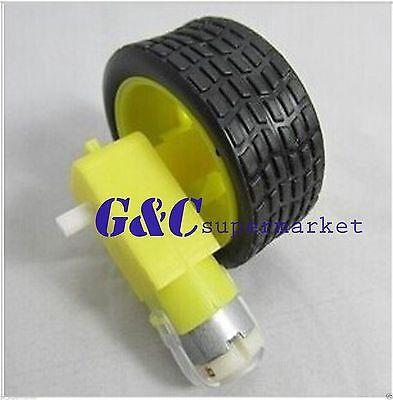 arduino smart Car Robot Plastic Tire Wheel with DC 3-6v Gear Motor