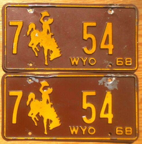 1968 Wyoming License Plate Number 54 Tag