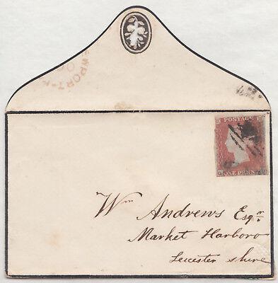1853?Ravenstones double arc UDC;Market Harborough;1d imperf,SG 8? Mourning Cover