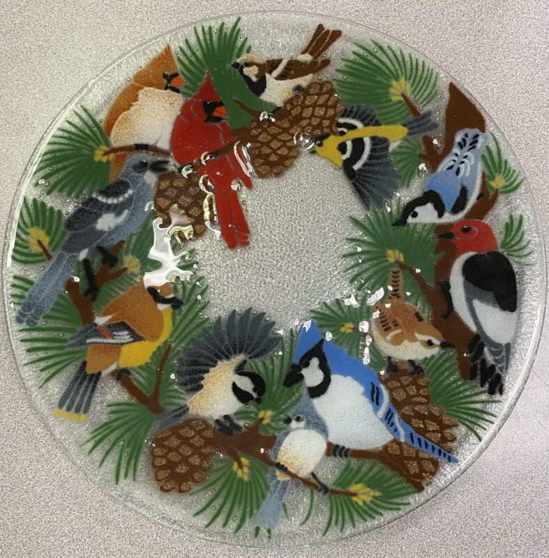 Beautiful Peggy Kerr Signed Fused Glass Birds Plate