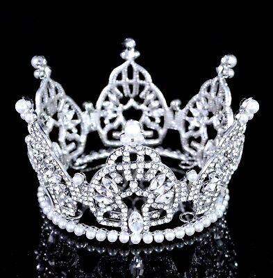 Mini Bun Pearl and Austrian Crystal Rhinestone Tiara Crown Cake Topper Prom T79](Tiara Cake Topper)