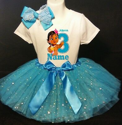 Moana Baby ***With NAME***3rd third 3 Birthday Turquoise Tutu Dress - Personalized Infant Dresses