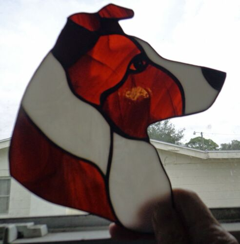 STAINED GLASS DOG - BORDER COLLIE - RED/WH