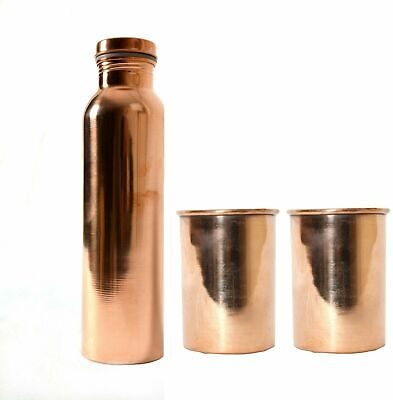 Cobre 700 ML Simple Ayurveda Drinkwere Botella de Agua & 2 Cristal...