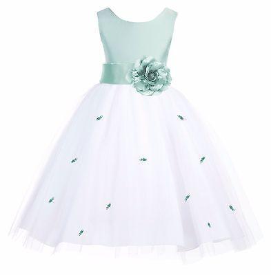 Sage Green Rosebud Flower Girl Dress Wedding Bridesmaid Formal Pageant Birthday Sage Flower Girl