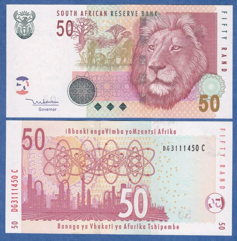 South Africa 50 Rand P 125 c Sign 8 UNC Low Shipping! Combine FREE!