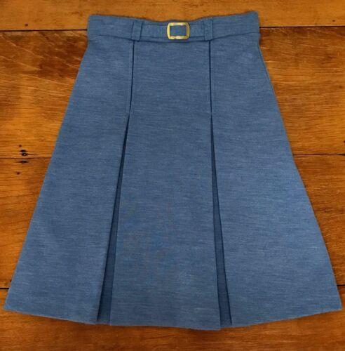 Vintage AILEEN Long Skirt Blue Straight Box Pleat Belt MOD Girls 1970s Sz 10