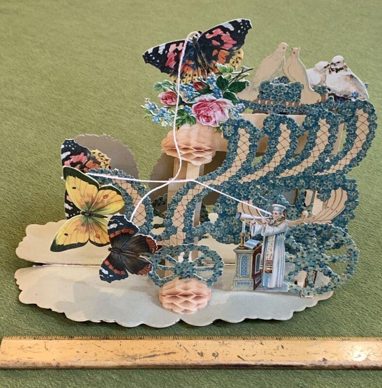 LARGE 1890s Jewish Rosh Hashanah Pop Up Greeting Card & Case German Shofar Doves