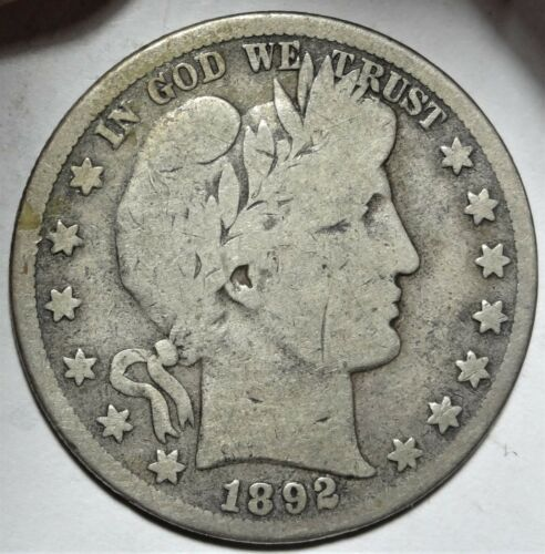 1892-S Barber Half Dollar Good San Francisco Mint Silver 50c Better Date Coin #1