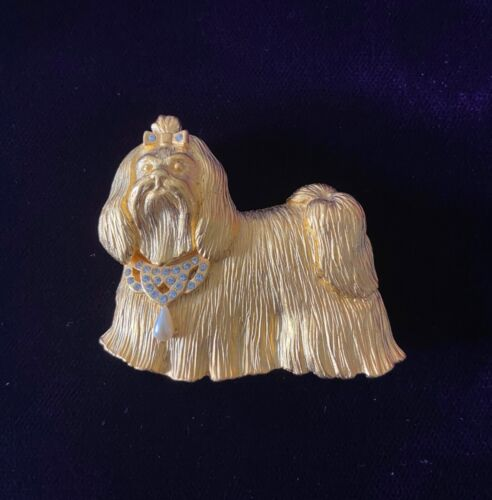 Lhasa Apso Dog Fancy Goldtone Brooch Pin  (inv:lt)