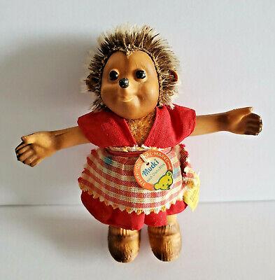 """Vintage Steiff Hedgehog Mucki Original Tag Label  8712/80 Vtg 5"""" Germany Toy"""