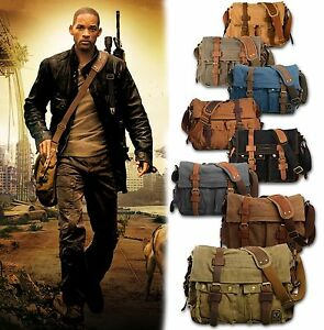 Mens-Military-Canvas-Leather-Satchel-School-14-Laptop-Shoulder-Messenger-Bag