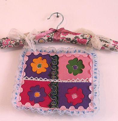 HANDMADE SPECIAL JEWELRY ORGENIZER FELTED FLOWERS LACE FABRIC BAG PINKS PURPLES  Handmade Felt Jewelry