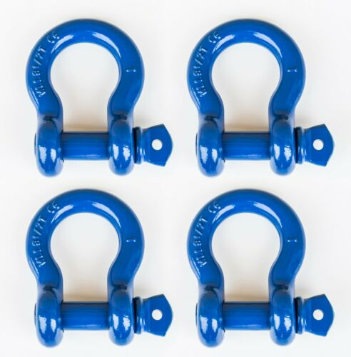 """4x 1"""" Blue D Ring Bow Shackle Screw Pin Clevis Rigging Towing WLL 8.5Ton 18500lb"""