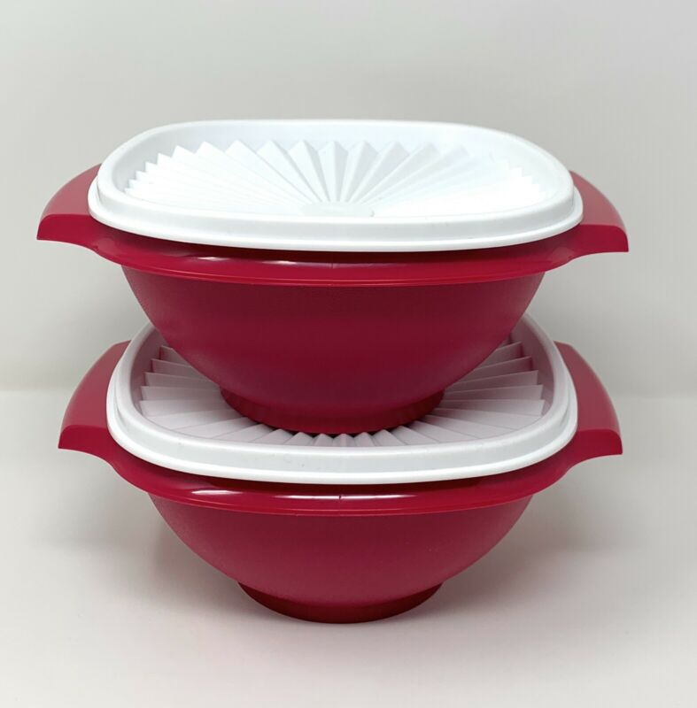 Tupperware Classic Servalier Bowls Set of 2 (4) Cups in Cherry NEW